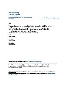 Experimental Investigations into Frost Formation ... - Semantic Scholar