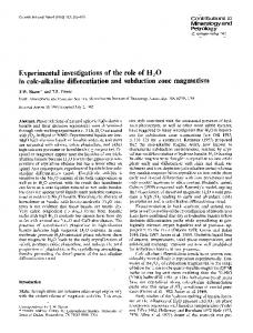 Experimental investigations of the role of H2O in calc-alkaline ...
