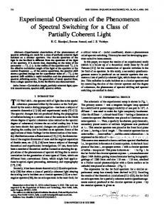 Experimental observation of the phenomenon of spectral switching for ...