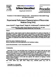 Experimental Performance Characterization of ...