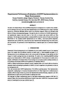 Experimental Performance Evaluation of AODV ... - CiteSeerX