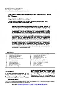 Experimental Performance Investigation of Photovoltaic/Thermal \(PV ...