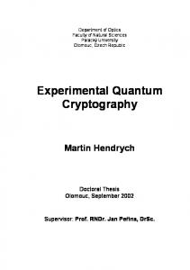 Experimental Quantum Cryptography Martin Hendrych