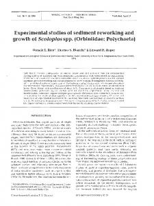 Experimental studies of sediment reworking and ... - Inter Research