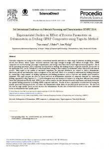 Experimental Studies on Effect of Process ... - ScienceDirect.com