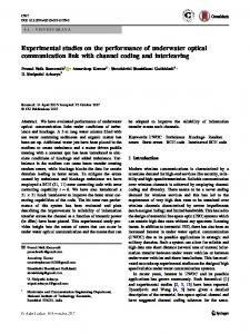 Experimental studies on the performance of underwater optical ...