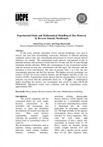 Experimental Study and Mathematical Modelling of Zinc Removal by