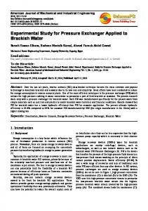 Experimental Study for Pressure Exchanger Applied to Brackish Water