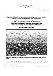 Experimental study of dynamic mechanical properties of reactive ...
