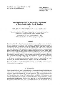 Experimental Study of Mechanical Behaviour of Rock Joints Under ...