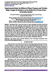 Experimental Study of the Effects of Water Pressure and ... - IJCTER