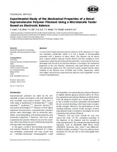 Experimental Study of the Mechanical Properties of a Novel ...