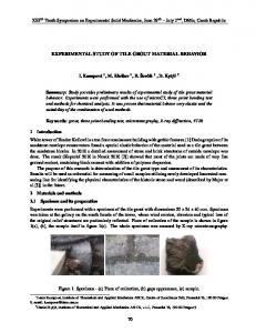 EXPERIMENTAL STUDY OF TILE GROUT MATERIAL BEHAVIOR