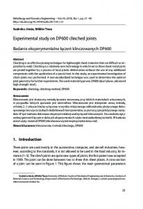 Experimental study on DP600 clinched joints