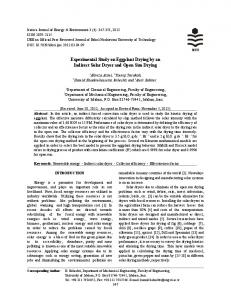 Experimental Study on Eggplant Drying by an Indirect Solar Dryer and ...