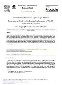Experimental Study on the Energy Performance of PV ... - Science Direct