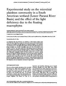 Experimental study on the microbial plankton community in a South ...