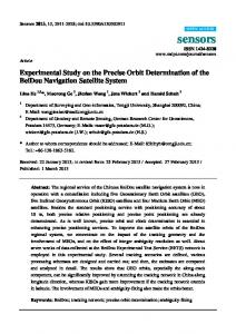 Experimental Study on the Precise Orbit Determination of the ... - MDPI
