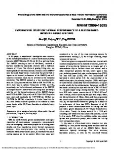 Experimental Study on Thermal Performance of a ...