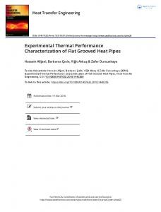 Experimental Thermal Performance Characterization