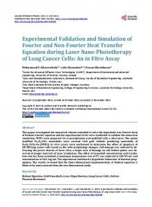 Experimental Validation and Simulation of Fourier and Non-Fourier ...