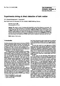 Experiments aiming at direct detection of dark matter - PNPI