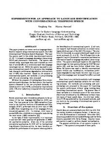 EXPERIMENTS FOR AN APPROACH TO ... - Semantic Scholar