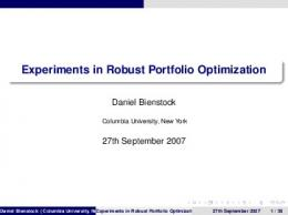 Experiments in Robust Portfolio Optimization - Columbia University