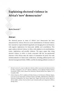 Explaining electoral violence in Africa's 'new' democracies - ISS Africa