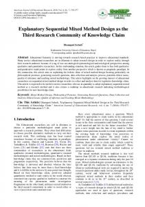 Explanatory Sequential Mixed Method Design as the Third Research ...