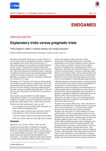 Explanatory trials versus pragmatic trials - The BMJ