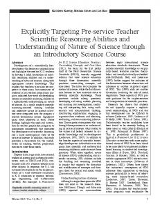 Explicitly targeting preservice teacher scientific reasoning abilities ...