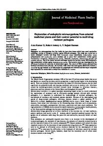 Exploration of endophytic microorganisms from selected medicinal ...
