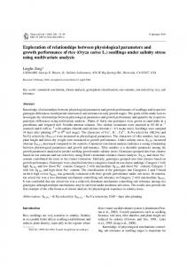 Exploration of relationships between physiological parameters ... - USDA