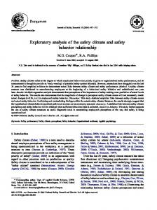 Exploratory analysis of the safety climate and ... - Behavioural Safety