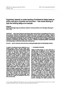 Exploratory research on course teaching of architectural design based