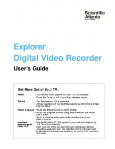 Explorer Digital Video Recorder Users Guide