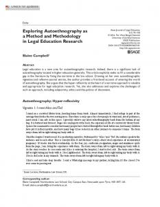 Exploring Autoethnography as a Method and Methodology in Legal ...
