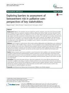 Exploring barriers to assessment of bereavement risk in palliative care ...