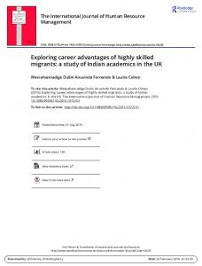 Exploring career advantages of highly skilled migrants: a study of ...