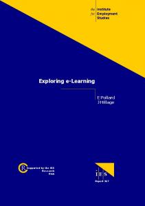 Exploring eLearning - Institute for Employment Studies