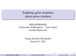 Exploring great mysteries about prime numbers - Wayzata Public ...