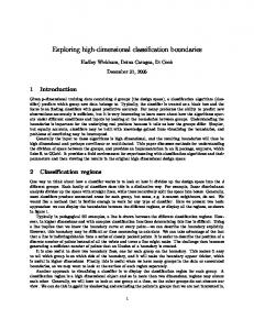 Exploring high-dimensional classification ... - Computer Science