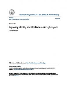 Exploring Identity and Identification in Cyberspace - CiteSeerX