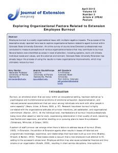 Exploring Organizational Factors Related to Extension Employee ...