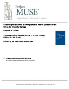 Exploring Persistence of Immigrant and Native Students ... - Error Page