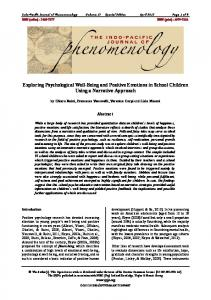 Exploring Psychological Well-Being and Positive Emotions in School ...
