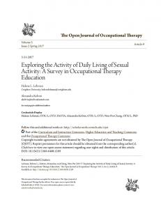 Exploring the Activity of Daily Living of Sexual Activity: A Survey in ...