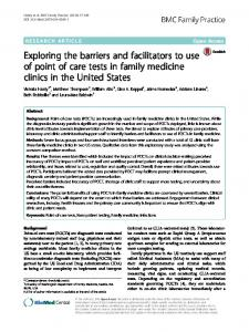 Exploring the barriers and facilitators to use of ... - Semantic Scholar