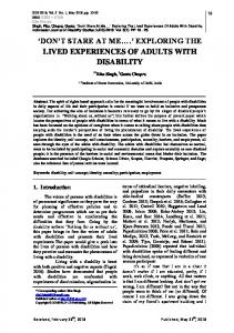 exploring the lived experiences of adults with disability - indonesian ...